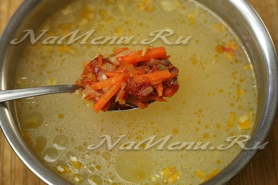 переложили овощи с томатом в бульон