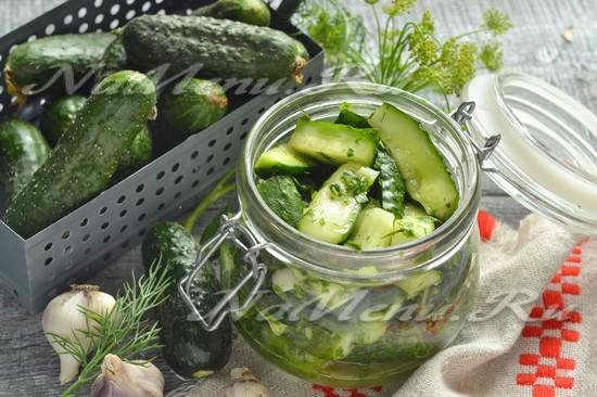 малосольные огурцы с чесноком и зеленью в банке рецепт