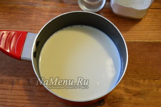 нагрейте молоко