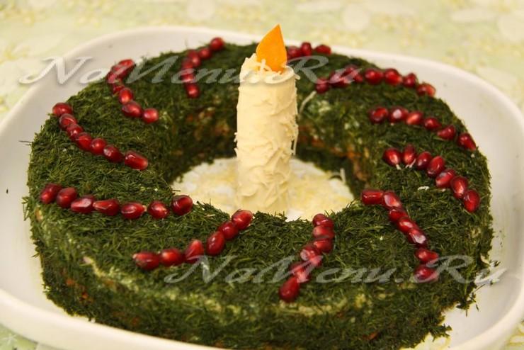 Салат с мясом и грибами «Рождественский венок»
