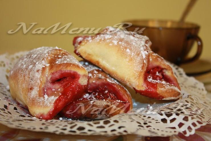 Творожное печенье с малиновой начинкой