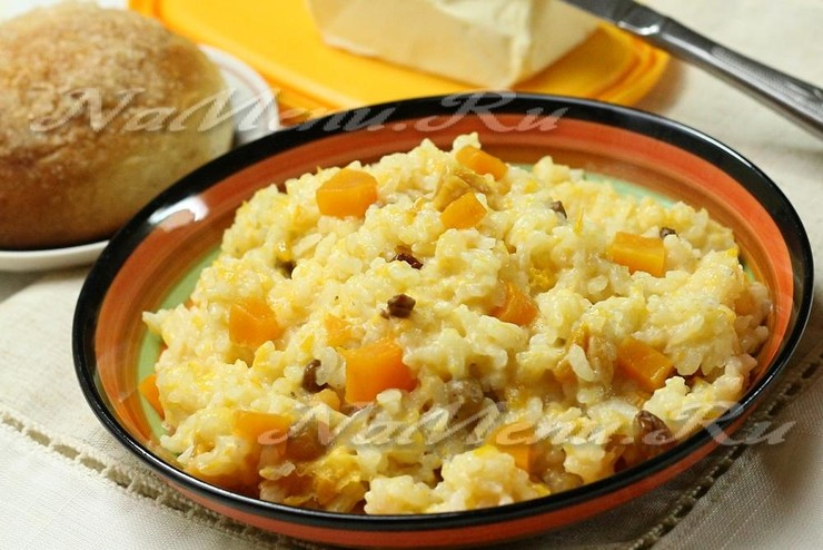 Рисовая каша с тыквой и сухофруктами