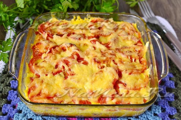 Запеканка из макарон с колбасой и сыром в духовке