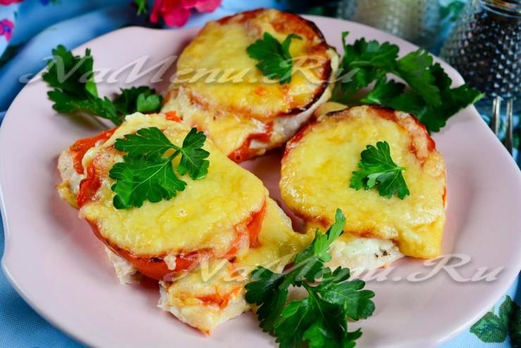 Куриные отбивные с сыром и помидорами в духовке рецепт с пошаговый