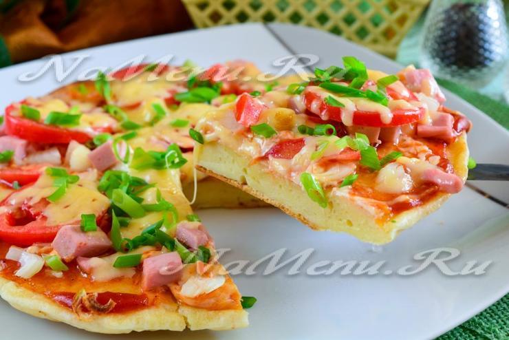 Пицца на сковороде за 10 минут на кефире