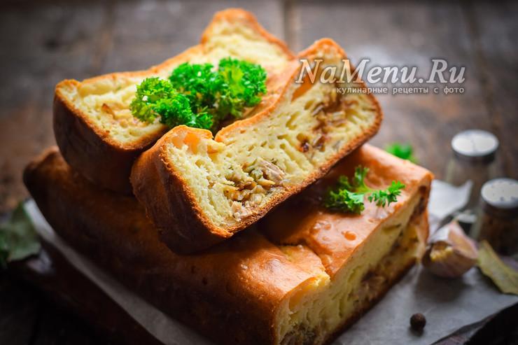 Заливной мясной пирог на кефире