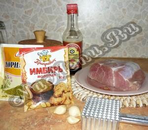 Ингредиенты для приготовления мяса по-французски