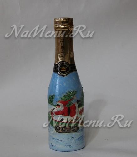Декупаж бутылки шампанского на Новый год: мастер класс