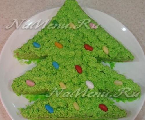 Бисквитный торт «Елочка»