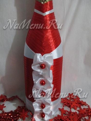 """Шампанское """"Дед Мороз"""" из атласной ленты"""