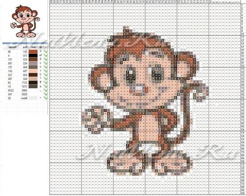 Схема вышивки обезьяны