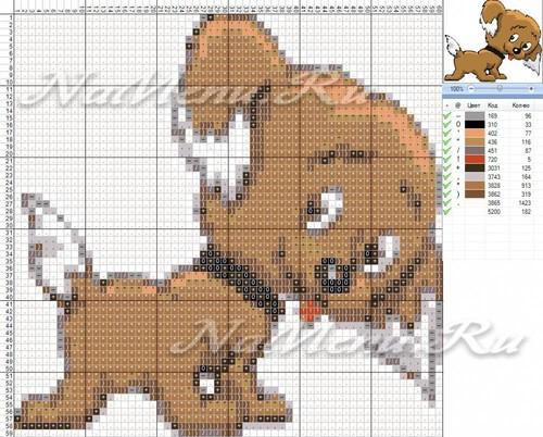 Схема вышивки собаки