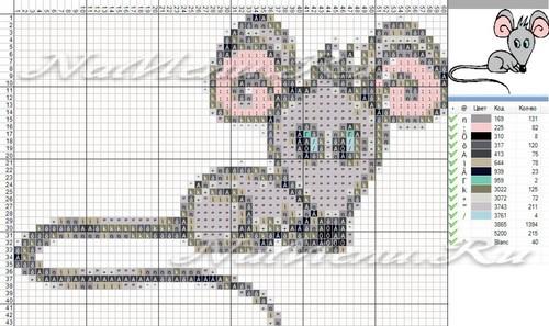 Схема вышивки мыши