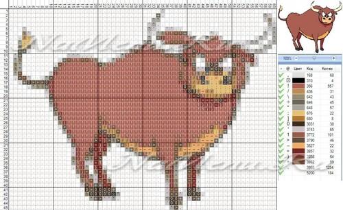 Схема вышивки быка