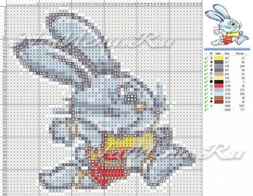 Схема вышивки кролика