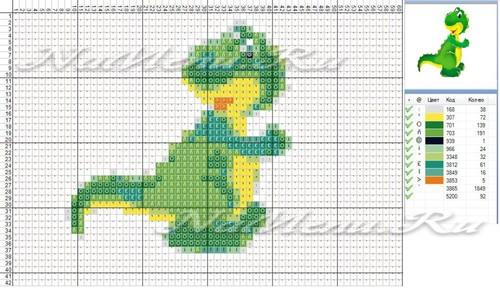 Схема вышивки дракона