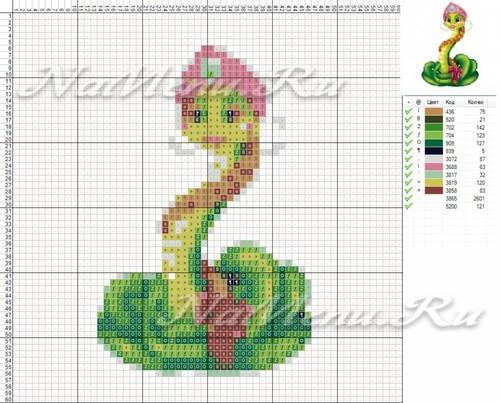 Схема вышивки змеи