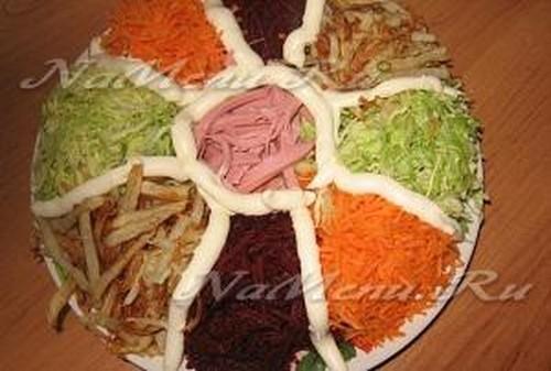 Салат козел в огороде с копченой курицей рецепт с