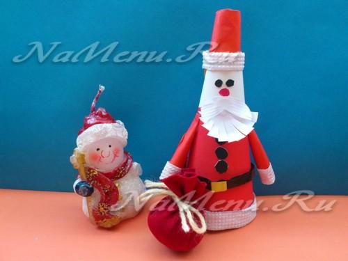 Забавный бумажный Дед Мороз из конуса