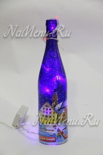 светящийся торшер из бутылки