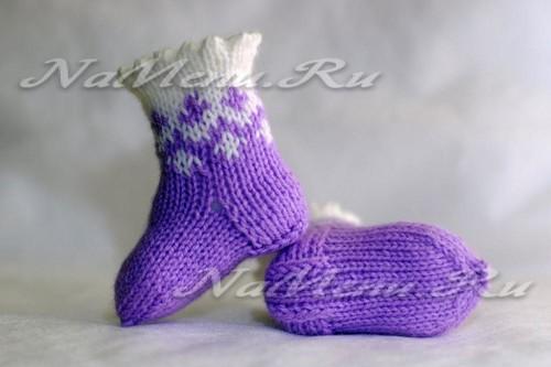 носочки спицами для новорожденной девочки на возраст от 0 до 2 месяцев