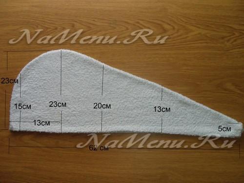 Выкройка чалмы-полотенца