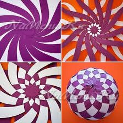 Новогодние объёмные шары из цветной бумаги