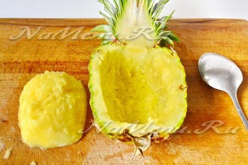 вычистить ананас от мякоти