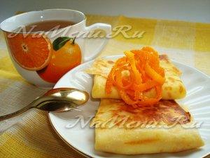 Апельсиновые блины с творожной начинкой