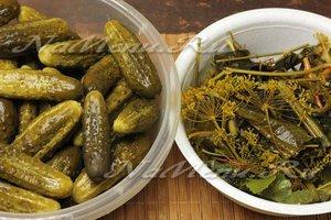 Огурцы и зелень, чеснок раскладываем по разным мискам