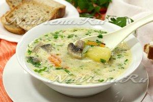 Суп с плавленным сыром и шампиньонами