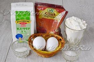 Ингредиенты для приготовления оладий на кислом молоке