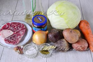 Ингредиенты для приготовления украинского борща