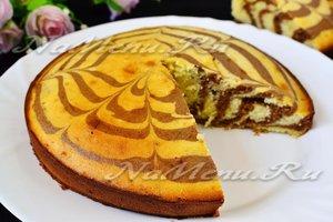 рецепт полосатого кекса Зебра