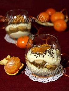 Тирамису из творога с мандаринами и шоколадом