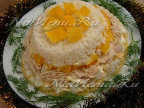 Салат с апельсинами, курицей и рисом