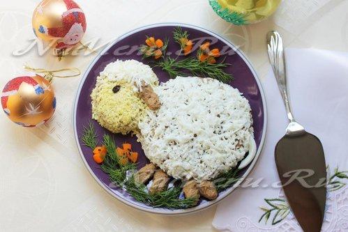 Печеночный паштет из куриной печени в форме овечки