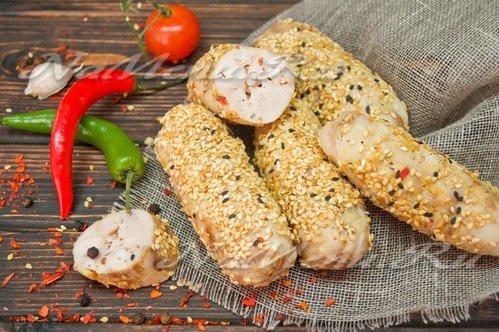 Куриные сардельки с кунжутом и горчицей. Корейская кухня