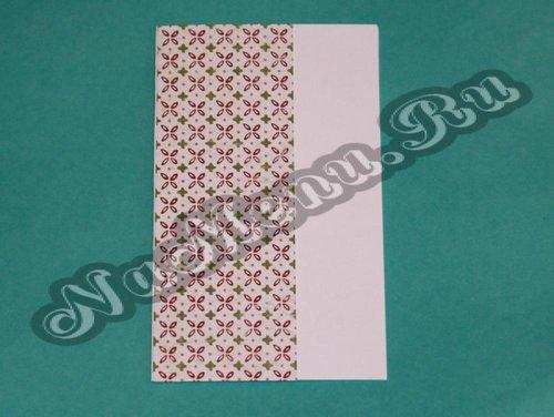 Наклеить прямоугольник на основу будущей открытки