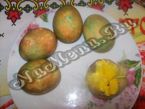Как покрасить яйца в луковой шелухе мраморные