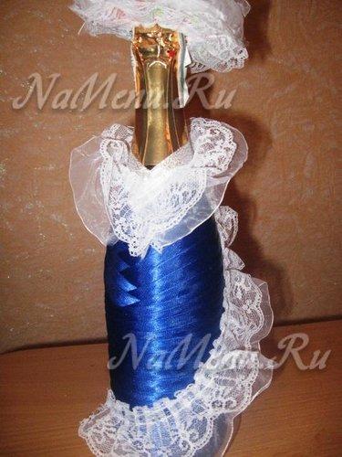 Как украсить бутылку шампанского лентами