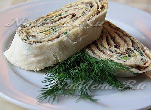 Лаваш с сыром и грибами