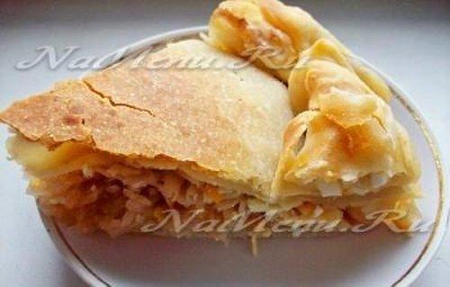 Мясной пирог из слоёного теста (Сочный) — рецепт с фото ...