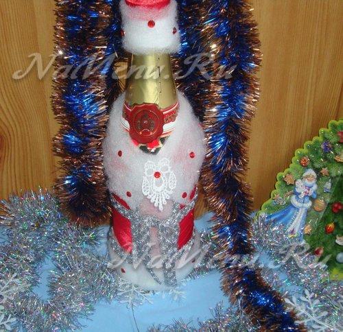 Чехол на бутылку «Дед Мороз» своими руками: мастер-класс