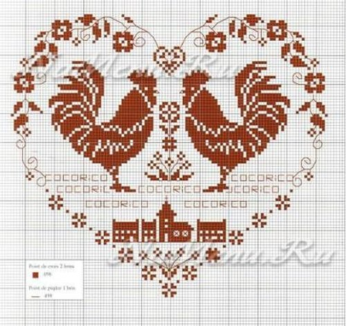 Вышивка Петуха крестом: схемы символа Нового года 2017