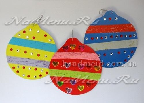 Ёлочные игрушки из цветного картона своими руками