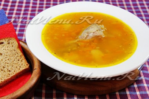 Гороховый суп с курицей в мультиварке