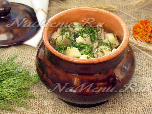 Горшочки с мясом, картофелем и грибами в духовке