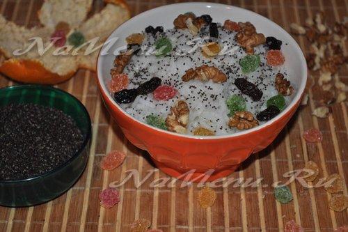 Рисовая кутья с орешками, изюмом и маком