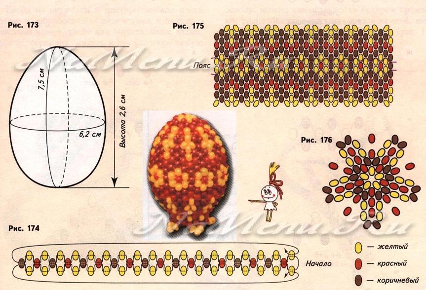 Схема плетения яйца из бисера для начинающих видео